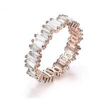 Cubic Zirconia Baguette Ring Eternity Gold and Clear Crystal Size P 8 Stackable