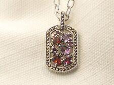 Estate Sterling Silver Amethyst & Garnet CNA Signed Pendant .925 Chain Necklace