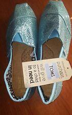 Toms Sparkle Blue Glitter Classic Shoes Womens Flats Size 8