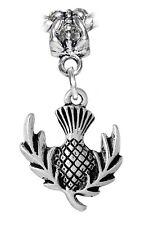 Pineapple Scotland Thistle Flower Dangle Charm for Silver European Bead Bracelet