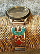 STERLING SILVER & TURQUOISE AND CORAL INLAY PEYOTE BIRD WATCH BAND