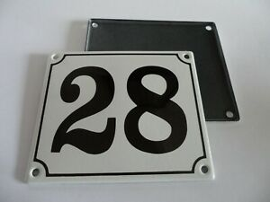 Old German White Enamel Porcelain Metal House Door Number Street Sign / Plate 28