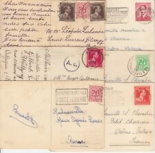 Lot 6 cartes postales timbrées timbres BELGIQUE BELGIE BELGIUM