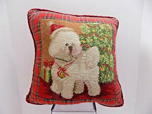 BICHON FRISE Dog Christmas Pillow Wool Needlepoint w/ Tartan Plaid Home Decor