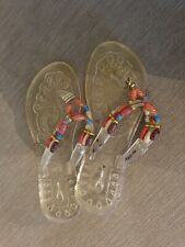 Excellent Condition Clear Jelly Beaded Flip Flops Size 4.5