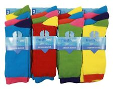 Mens boys Design Socks Cotton Rich Lycra Designer Vibrant Bright Colours Design