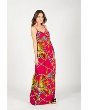 Lady Kette Feder Print Maxikleid Holiday Beach Wear