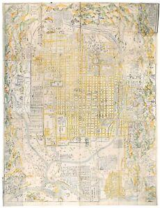 1730 Japan - RARE EARLY KYOTO MAP - Hayashi-shi Yoshinaga - Woodcut Illustration