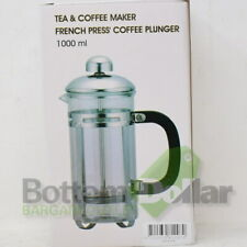 Tea & Coffee Maker Glass/Stainless Steel Frame French Press Coffee Plunger 34 Oz