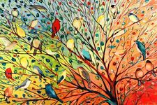 TREE BIRDS - COLORFUL COLLAGE - FINE ART PRINT POSTER 13x19 - JL1005