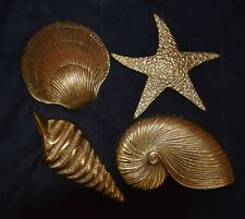 Vintage Solid Brass Sea Shell and Star Fish Wall Hangings Four Pieces Sale