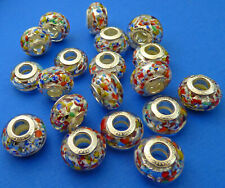 14mm Multi Coloured European Style Murano Glass Roundel Charm Bead 1pc