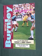BURNLEY- DERBY COUNTY - F.A CUP THIRD ROUND  -91/92