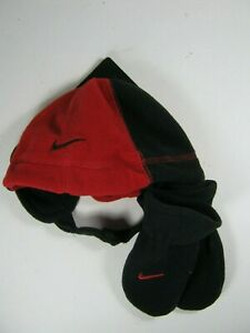New Nike Boys Beanie Hat and Mittens Set Red Black 12 - 24 months