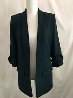 ZARA WOMAN BLAZER WITH GATHERED SLEEVES BLAZER DARK GREEN SZ S