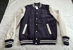 "MAXX Mens Navy Blue / White ""J"" Varsity Style Button Up Jacket Size L / 102 New"