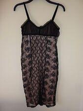 Miss selfridge black lace over pink cocktail dress. Size 8