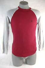 New Mens Medium VOLCOM Colorblock Raglan Maroon Gry Thermal Long Sleeve Shirt$35