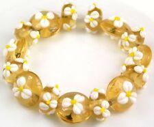HANDMADE LAMPWORK GLASS BEADS Topaz Yellow White Petal Flower Loose Craft