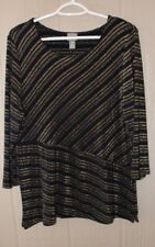 CHICOS Travelers 2 Textured Knit Top Black Gold