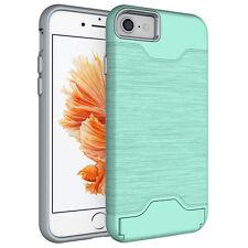 Shockproof Hybrid Holder Card Wallet Back Phone Case Cover For Samsung iPhone
