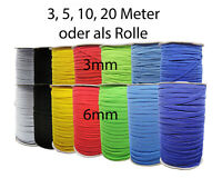 Gummilitze Gummiband 3mm, 6mm farbig kochfest Elastikkordel Wäschegummi bunt