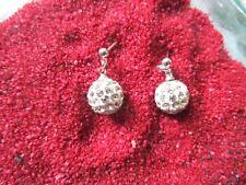 925 Silber-Shamballa Ohrstecker Perlen Creolen Weiß Strass Zirkon Hochzeit