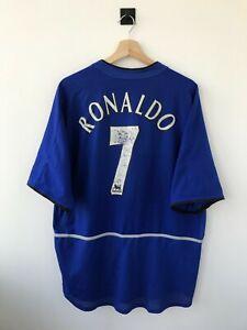 MANCHESTER UNITED 2002/2003 THIRD FOOTBALL SHIRT JERSEY TRIKOT BLUE NIKE RONALDO