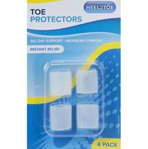 4 Pk Gel Cushion Toe Protectors Foot Pain Relief Feet Bunions Corn Hammer Toe