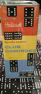 Vintage Halsam  91 Pc Double-Twelve Club Dominoes Complete Set No 300