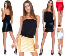Womens Shiny Mini Skirt Metallic Faux Leather Liquid Wet Look Bodycon S-2XL RIO