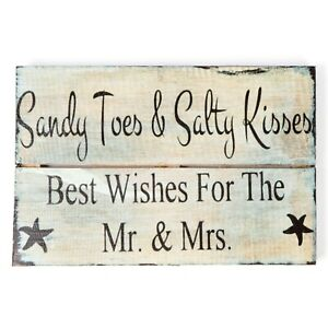 Sandy Toes Salty Kisses Wall Hanging Sign Solid Rustic Wood Wooden WH-603