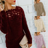 Simpl Women Casual Long Sleeve Pure Lace Flully Patchwork Pullover Top Blouse Y8