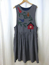 Vintage Cool Grey Plaid Red Blue Bird Aplique Dress Women's Dress Size L XL XXL