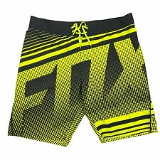 FOX Head H2O Performance Black Yellow Board Shorts Spellout All Over Mens Sz 38