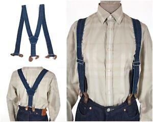Vintage 1930s LEVI'S Clothing LVC USA Blue Cotton Denim Button Suspenders Braces