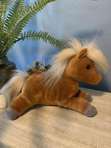 plush stuffed Aurora brown pony horse blonde tail mane EUC