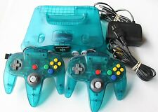 RARE ICE BLUE Nintendo 64 Gaming System Complete 2 Controllers Teal Atomic Clear