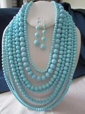 SEVEN LAYERS BLUE TURQUOISE LUCITE BEAD CHUNKY NECKLACE EARRING