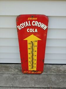 "Vintage 1953 RC ""Royal Crown Cola"" Soda,  26"", Metal Thermometer Sign - WORKS"