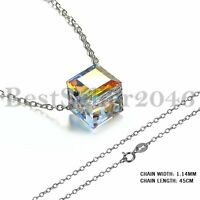 925 Sterling Silver Cubic Crystal Necklace Made With Swarovski Elements Women