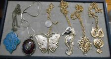 VINTAGE LOT OF 6 HUGE PENDANT NECKLACES,TURQUOISE,OWL,SEAHORSE,BUTTERFLY