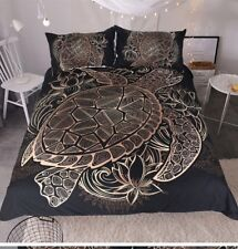 Unique Art Black and Gold Turtle Duvet Comforter Cover 3 Piece Queen Size Set