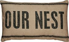 "OUR NEST Large Decorative Throw Pillow, 15"" x 25"", Primitives by Kathy"