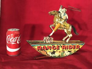 VINTAGE USA MARX RANGE RIDER TIN LITHO WIND-UP TOY WORKING,EXCELLENT CONDITION