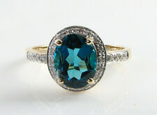 BIG 9K 9CT GOLD LONDON BLUE TOPAZ DIAMOND ART DECO INS  HALO RING Size J