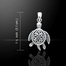 Celtic Sea Turtle Triquetra Sterling Silver Pendant by Peter Stone Jewelry