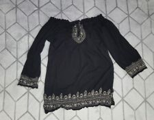 Lucky Brand Womens Embroidered Peasant Top Elastic Top and Bottom Size S Black