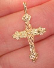 "10K Black Hills Yellow and Rose Gold Cross Pendant Hallmarked .723 Grams 1"""