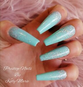 10pc Set FIJI SPARKLE Press On False Nails Long Coffin Glitter Holo Turquoise